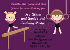 Gymnastics Birthday Invitation Gymnastics by www.cutiepatootiecreations.com