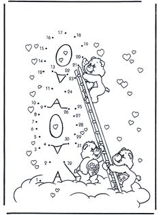 Connect the Dots - Care Bears - Number picture Bear Coloring Pages, Coloring Pages For Boys, Disney Coloring Pages, Christmas Coloring Pages, Maze Drawing, Drawing Sheet, Care Bears, Dot To Dot Puzzles, Dot To Dot Printables