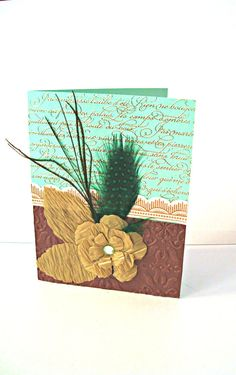 Birthday Card Gold Rose Green Chocolate peacock card by Wcards, $3.00