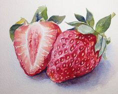 Watercolor painting-Stawberry-Watercolor by PinkLeavesArts on Etsy