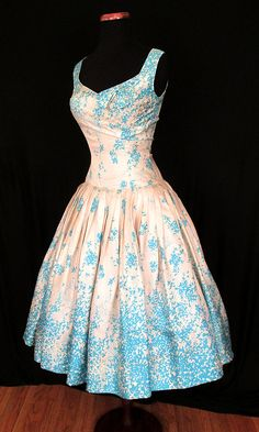 Gorgeous 1950's Silk Floral Print Drop Waist New by wearitagain...absolutely beautiful!! My style of dress!