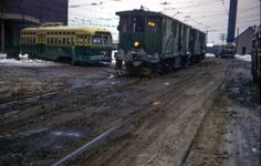 PTC Sweeper and PCC trolley at Luzerne Depot 1966
