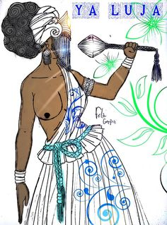 """Yá Lujá ou Olujá nao é Orisa, não é iniciada na cabeça de ninguém, então é do grupo das Deidades. Cultuada junto a família de Oyó, ela é a única mulher a ter autorização de """"Rodar o Sere"""". Ela é assentada, cultuada e sempre lembrada como Ancestral. Porém há pessoas que iniciam essa Deidade (não se sabe como nem porque) em Yawos,.mas na verdade quem pega o ori é Yemanja. Isso também acontece com Ya Masse Male e Ya Moremi que também são Deidades e não pegam Cabeça de Yawo."""