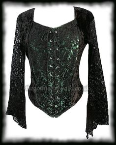 Gothic Black & Green Velvet Bodice Top
