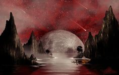 """""""Crimson Night"""" Digital artwork by: Anthony Citro - A digital painting of a rocky bay under crimson skies with moonlight reflecting off of the waters surface. A fisherman makes his way to his favorite fishing spot for a nighttime catch. Shrouded in fog, the bay is witness to a rare meteorological event in the midnight sky. Www.anthonycitrophotography.com"""