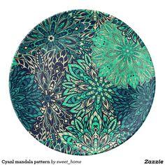 Cyanl mandala pattern porcelain plate  #Home #decor #Room #Interior #decorating #Idea #Styles #Traditional #Boho #Indian #Vintage #floral #motif
