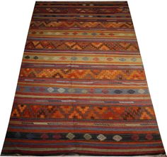 vintage kilim rug green rug striped rug orange rug by POCCARugs