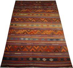 vintage kilim rug green rug striped rug orange rug by POCCARugs