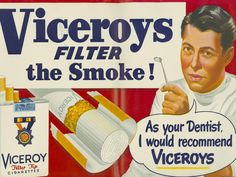 The mirror-wielding dentist exudes authority about the medical advantages of Viceroy cigarettes in this 1949 ad.
