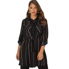 b91ee99f502 Striped Turn-down Collar Long Top – Curvy Fashion Queen Blouse Styles