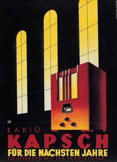 Mixed Media - Kapsch Radio - German - Vintage Advertising Poster by Studio Grafiikka , Vintage Advertising Posters, Vintage Travel Posters, Vintage Advertisements, Vintage Ads, Retro Posters, Poster Vintage, Radios, Mad Men, Art Nouveau