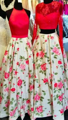 Two-piece white and pink, floral gown. Pink, lace and floral print gown. Two-piece floral gown. Prom dress with flowers. Trendy Dresses, Nice Dresses, Casual Dresses, Fashion Dresses, Formal Dresses, Lehenga Designs, Indian Dresses, Indian Outfits, Saris