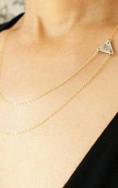 Layered Triangle Initial Necklace
