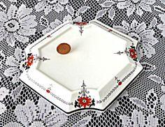 Shelley Queen Anne Daisy Trivet Teapot Stand Art Deco Red Enamel 1930s