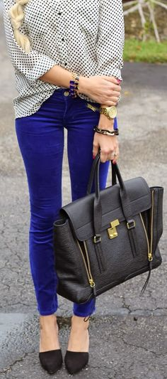 Dotted print shirt and navy pant street style combo