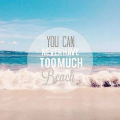 You can never have too much BEACH! - 50 Warm and Sunny Beach Therapy Quotes  - Style Estate - 364a3cc3fd8d