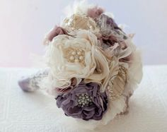 Fabric Flower Custom Wedding Bouquet, with rhinestone and pearl brooches, choose your colors, Victorian Lilac. $375.00, via Etsy.