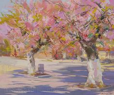 Pink Landscape Painting of Trees in blossom Spring Oil by Pysar, $559.00