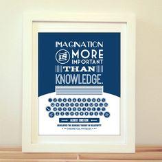 Imagination is More Important Than Knowledge, Albert Einstein, Einstein, Einstein Quote, Type, Typography, Typewriter, Inspiration, Imagine by BentonParkPrints on Etsy