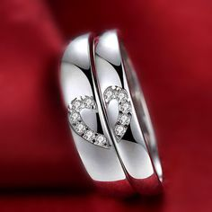 Bling Bling CZ Matching Heart Deco Sterling Silver His and Her Promise Rings