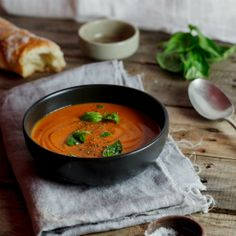 Roasted tomato, red bean & feta soup