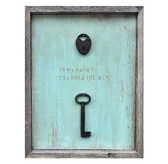 Key To My Heart Turquoise Reclaimed Wood Wall Art