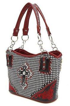 Western HOUNDSTOOTH Purse Rhinestone Cross Shoulder Bag Handbag Tote - BLACK RED