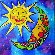 The Sun The Moon & Truth Acrylic Painting Sun Painting, Rock Painting, Small Canvas Art, Sun Moon Stars, Sun Art, Hippie Art, Moon Design, Psychedelic Art, Painted Rocks