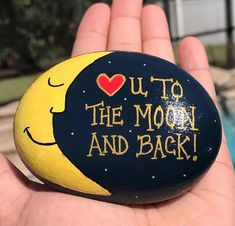 """Hand painted river rock stone art """"love you to the moon and back Pebble Painting, Pebble Art, Stone Painting, Diy Painting, Painted River Rocks, Painted Rocks Craft, Hand Painted Rocks, Rock Painting Patterns, Rock Painting Ideas Easy"""