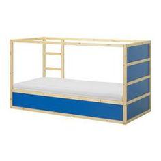"KURA reversible bed, pine, dark blue Length: 78 3/8 "" Width: 41 3/8 "" Height: 45 5/8 "" Length: 199 cm Width: 105 cm Height: 116 cm"