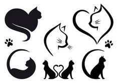 Cat Silhouette Tattoos, Silhouette Chat, Black Silhouette, Kitty Tattoos, Dog Tattoos, Cat Design, Logo Design, Graphic Design, Design Set