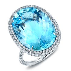TAMIR Spectacular Aquamarine and Micro-Set Diamond Ring 22.20ct oval Aquamarine showcased in a completely micro-set diamond ring. Diamonds total 2.96ct