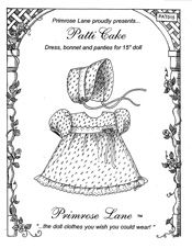"Patti Cake for 15"" Dolls, by Primrose Lane Patterns"