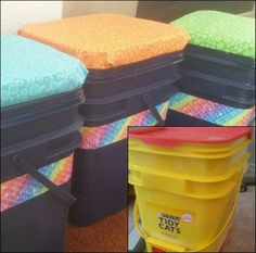 I turned used kitty litter containers into sitting stools for my students.