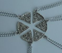 Best friend necklace pizza necklace food by BlueBubbleCrystals