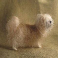 Needle felted Shih Tzu, miniature dog, pet portrait via Etsy