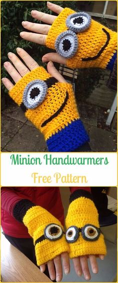 Crochet Minion Handwarmers Free Pattern - Crochet Arm Warmer Free Patterns