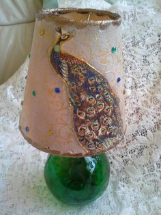 lampshade with peacock (decoupage)