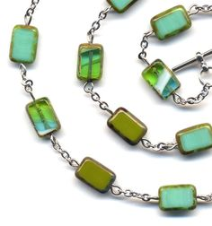 Turquoise Necklace Green Necklace Irish Green by Annaart72 on Etsy