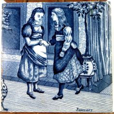 "Two Victorian prissy Misses - 19thC Wedgwood Blue/White Underglaze 6"" Months Tile January (1 of 2) 1880 - ebay £9.95"