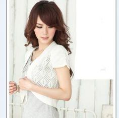 $7.30 Fashion Pure Color Rhomb Short Sleeves Cape White
