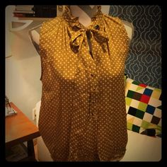 Gold and Polka Dots Gorgeous gold colored sleeveless top with a tie at the neck, little buttons, and a gathered elastic waist. Very striking! Lots of compliments on this shirt when you wear it! Jules & Leopold Tops