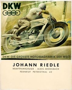 DKW Auto Union Motorcycles, 1930s - original vintage poster listed on AntikBar.co.uk