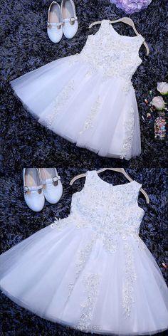Boutique Lace Flower Girl Dresses, A-line Birthday Dresses, Scoop Neck Tulle Tea-length Pageant Dresses