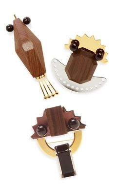 Triple abstract wooden brooches by Marni