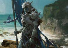 Coralhelm Commander art by Jaime Jones Fantasy Races, Fantasy Armor, Medieval Fantasy, Dark Fantasy, Fantasy World, Dnd Characters, Fantasy Characters, Dark Souls, Fantasy Creatures
