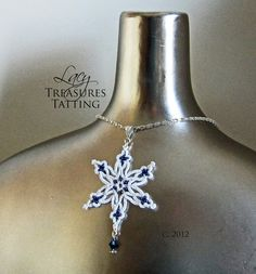 Tatted Snowflake Beaded Necklace  Handmade Lace  by LacyTreasures, $39.00