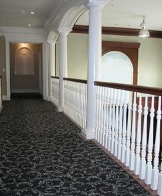 Flared Stairs | Flared Staircase with Carpeted and Stained Stairs