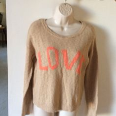 ❄️WINTER SALE❄️. Lucky Brand LOVE sweater. Tan sweater with LOVE in peach.   Very nice condition.   FINAL MARKDOWN Lucky Brand Sweaters Crew & Scoop Necks