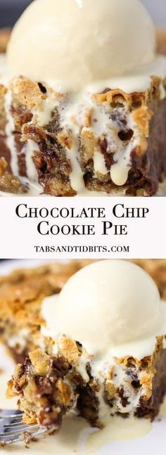 Chocolate Chip Cookie Pie - A sweet brown sugar and butter chocolate chip cookie batter baked into to pie perfection! #DesertsFoodRecipes